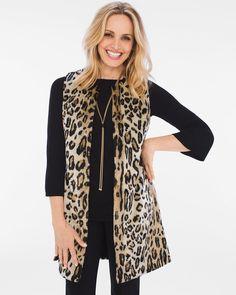 Chico's Women's Animal Faux-Fur Vest, Animal, Size: 2 (12/14 L)