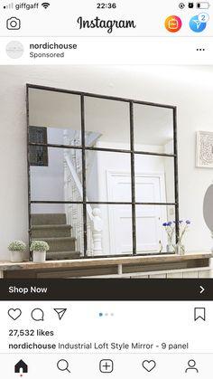 Mirror Panels, Window Mirror, Victorian Hallway, Big Bathrooms, Living Room Mirrors, Flat Ideas, Big Windows, Industrial Loft, 2 Instagram