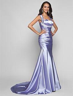 Trumpet/Mermaid Straps Sweep/Brush Train Stretch Satin Evening Dress - USD $ 119.99
