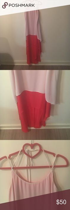 BCBG high low dress Excellent condition, only worn twice.  White and fire orange layers, with halter neck. BCBG Dresses High Low