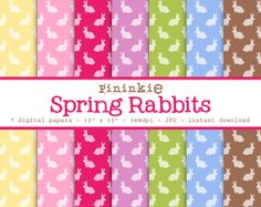 Easter Digital Paper Rabbit Digital Paper Instant by Pininkie, $2.00