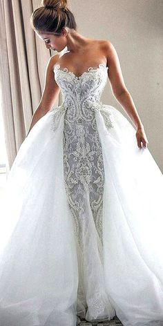 Wonderful Perfect Wedding Dress For The Bride Ideas. Ineffable Perfect Wedding Dress For The Bride Ideas. Lace Mermaid Wedding Dress, Dream Wedding Dresses, Bridal Dresses, Tulle Wedding, Gown Wedding, Unique Wedding Gowns, 2017 Wedding, Wedding Cake, Bridal Lace