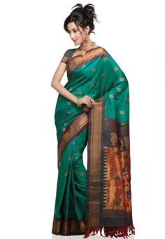 Green Pure Handloom Paithani Silk Saree With Blouse Online Shopping: SHA2F