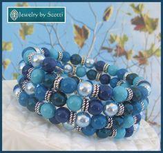 Blue Multistrand Pearl Wrap Bracelet, Pearl Coil Bracelet, Blue Stacked Bracelet, Multistrand Cuff, Memory Wire Jewelry, Blue Pearl Jewelry