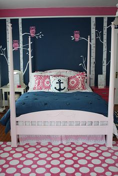 Navy & pink bedroom. This is what i want my bedroom to look like. That is as soon as i get out of college. cant get much better than polka dots navy and an anchor!