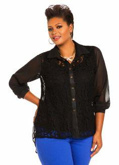 Ashley Stewart Women's Plus Size Raised Lace Blouse Black
