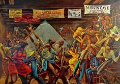 Ernie Barnes created the painting The Sugar Shack in the It gained international exposure when it was used on the Good Times television series and on the 1976 Marvin Gaye album I Want You. Ernie Barnes, African Art Paintings, Mediums Of Art, Black Art Pictures, Jazz Art, Black Love Art, Black Artwork, African American Art, Urban Art