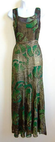 1930s Lamé gown, green burn out to black floral.