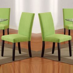 Poundex Furniture Set of 2 Parson Design Apple Green Microfiber Covered Dining Chairs with Espresso Legs