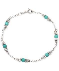 Sterling Silver Beaded Bracelet - Turquoise/Silver Women's, Size: Small, Silver/Turquoise - Sterling Silver Beaded Bracelet – Turquoise/Silver Women's, Turquoise/Sterling - Bracelets Diy, Bracelet Crafts, Handmade Bracelets, Wire Jewelry Designs, Jewelry Patterns, Metal Jewelry, Bead Jewellery, Jewelery, Jewelry Necklaces