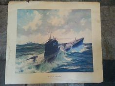 WWII 1943 Submarine USS Narwhal Litho Print by by MayberryAntiques