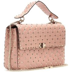 Valentino Rockstud Spike Quilted Leather Handbag ($2,805) ❤ liked on Polyvore featuring bags, handbags, spike bag, quilted leather handbags, purse bag, red hand bags and quilted leather bag