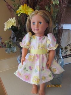 "A smile for you pastel plaid dress for 18"" doll"