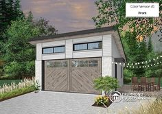 Color version 1 - Front Two-car garage plan with one garage door, lateral door access - Urban Nature 3