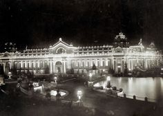 Night view of the Palace of Electricity from Festival Hall at the 1904 World's Fair.