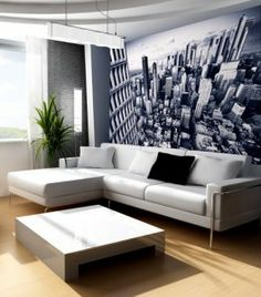 Along with the white wall, I would want a city skyline wall paper either behind my bed or behind a sitting area in my room.