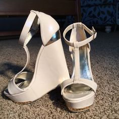 """Tan Wedges Beautiful 5"""" wedges.  Used once for a couple of hours.  They are glossy Tan with gold accents. Heart in D Shoes Wedges"""
