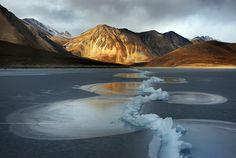 Pangong Tso, a high-altitude brackish lake on the India-Tibet border, in winter
