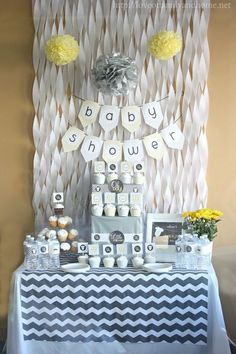 Gray & Yellow Baby Shower Decorating Ideas by Macarena Kreps