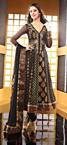 """Beautys Black Color Fauxchiffon Fabrics Anarkali Suit  ITEM CODE :- SLRC2113  PRICE:- 6255/- INR  Style: Anarkali Suit sleeve style: Sleeveless, Long Sleeve (18"""" to 21"""") size: 38"""", 32"""", 36"""", 34"""", 42"""", 40"""" occasion: Party, Festival, Reception fabric: Faux Chiffon color: Black Catalog No.: 1150 work: Embroidered, Resham , Zari  SHOP THIS SUIT FROM HERE http://www.vivaahsurat.com/salwar-kameez/beautys-black-color-fauxchiffon-fabrics-anarkali-suit-slrc2112"""