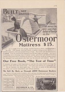 Free Vintage Clipart, Vintage Magazine Ads and Vintage Artwork Perfect for Home & Man-Cave Decor: Vintage 1906 Ostermoor Built Mattress Original Print Ad Furniture Bedding Sleep