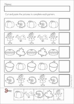Autumn / Fall Math Worksheets & Activities - (Kindergarten). 52 pages. A page from the unit: Patterns cut and paste