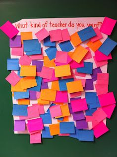 First Day Activity~  Get to know your students and find out THEIR expectations! Just need sticky notes and poster board! I absolutely love this idea. I might even add a silly photo of myself. What a great way to assess the beginning of school. Then, I could type the ideas up and put them on my webpage for all to see.