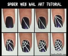 unhas para o halloween passo a passo teia de aranha