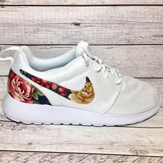 Custom Fabric Nike Roshe Shoes Navy Floral Sneakers Bling Nike Shoes...  ( 145 9bdde59898