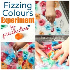 Fizzing Colour Experiment with vinegar and baking soda - Happy Hooligans Science For Toddlers, Art Activities For Toddlers, Preschool Science Activities, Water Science Experiments, Science Experiments For Preschoolers, Toddler Crafts, Crafts For Kids, Fun Crafts, Prayer Crafts