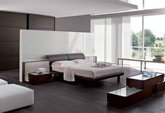 Modern bedroom furniture is uniquely designed to match the practicality of modern life's minimalism. What colors are more practical than black and white to suit modern bedroom furniture design? Italian Bedroom Furniture, Contemporary Bedroom Furniture, Modern Master Bedroom, Bedroom Furniture Design, Stylish Bedroom, Modern Bedroom Design, Master Bedroom Design, Minimalist Bedroom, Modern Interior Design