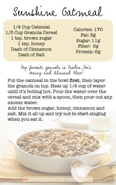 oatmeal recipe from matchstick molly