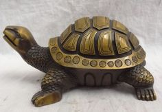 "9"" China Chinese Bronze FengShui Longevity Sea Turtle Statue Animal Sculpture"