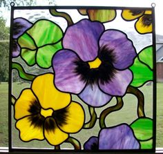 pansy stained glass