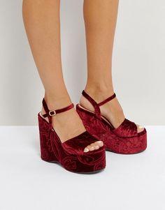 Lost Ink Burgundy Flock Wedge Heeled Sandals