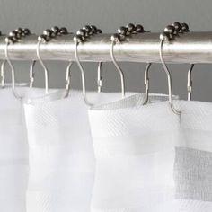 Wayfair Basics Shower Curtain Hooks (Set of Double Shower Curtain, Shower Curtain Rods, Shower Rod, Custom Shower Curtains, Chic Bathrooms, Bathroom Sets, Bathroom Pink, Christmas Bathroom Decor, Curtains With Rings