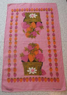 Pink & orange strawberries linen tea towel.