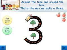 Interactive Number Formation Rhymes: PowerPoint that uses action buttons and animations to show number formation on the IWB. Numbers 0-9 in Sassoon font. Also has a small counting element after each number formation is shown - just count the apples.
