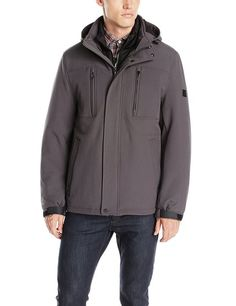 Calvin Klein Men's Softshell 3-In-1 Convertible Systems Jacket, Smoke, Small