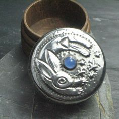 Leaping Hare Box in Silver Pewter with Blue Agate by coatiMonday, $27.50