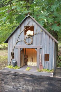 Barn Vintage Folk Art Primitive Saltbox Horse Tobacco Cabin Lighted Birdhouse  #Country