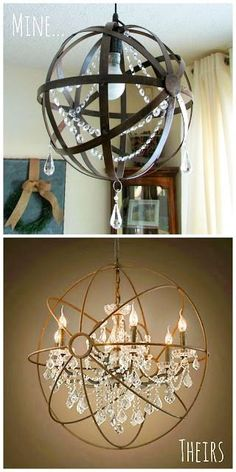 Glamorous, Affordable Life: DIY Crystal Iron Orb Chandelier *** we need to do this with the hanging ikea lights and the metal orbs I bought at home goods! Inexpensive Home Decor, Cheap Home Decor, Diy Home Decor, Inexpensive Furniture, Orb Chandelier, Chandeliers, Orb Light, Diy Lampe, Steampunk House