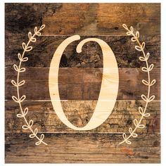 Monogram Letter Wood Wall Decor - O