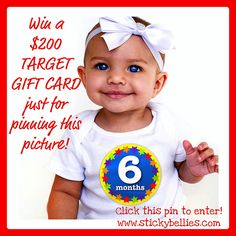 Win a Target gift card just for pinning this image from @Sticky Bellies monthly onesie stickers for babies! Go to the blog to enter: www.stickybellies.com/blog or click the pin!