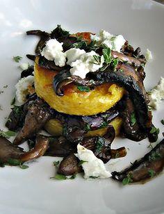 Grilled Polenta with Wild Mushroom Ragu & Chèvre
