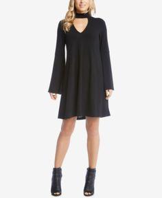 Karen Kane Taylor Mock-Neck Cutout Shift Dress - Black XL