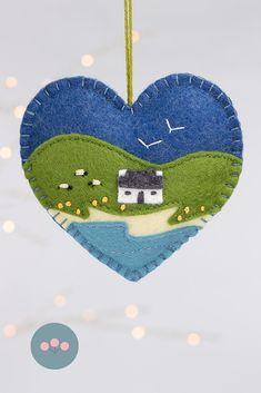 Irish Cottage felt heart ornament - felt thanksgiving decor - Hand stitched in Dingle, Ireland by Tilly & Puffin - Felt Crafts Patterns, Felt Crafts Diy, Felt Diy, Handmade Felt, Felt Christmas Decorations, Felt Christmas Ornaments, Christmas Crafts, Photo Ornaments, Prim Christmas