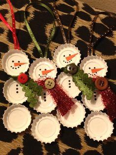 snowmen+fron+bottle+caps | Bottle Cap Snowman Ornament. $6.50, via Etsy. | tis the season to be ...