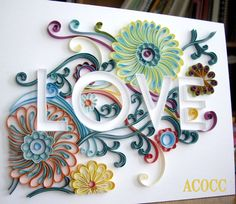 Sylized Floral Quilled Paper Custom Word. 8 x 10.  Any by aCoCC, $95.00