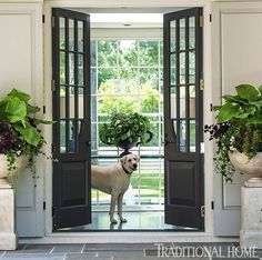 Gray French doors & limestone urns
